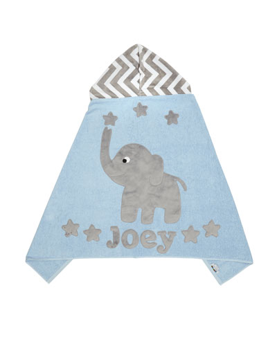Personalized Big Foot Elephant Hooded Towel  Gray