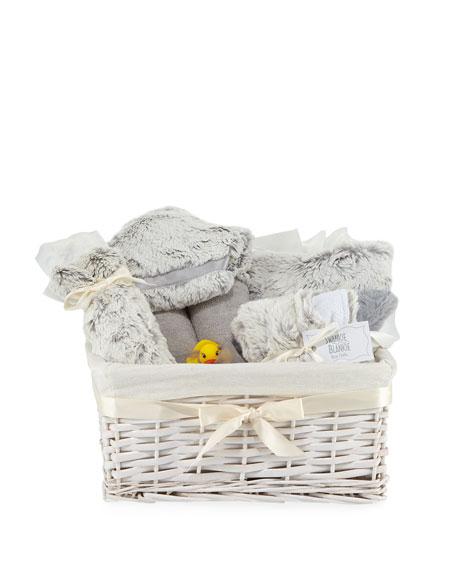 SWANKIE BLANKIE Aspen Plush Gift Basket in Gray