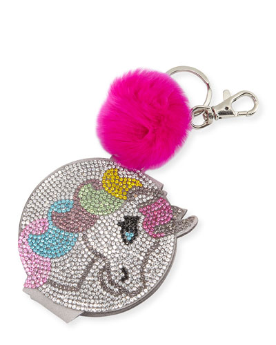 Girls' Crystal Unicorn Mirror Key Chain w/ Fur Pompom