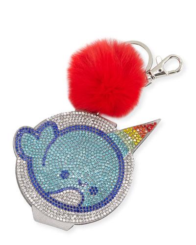 Girls' Crystal Narwhal Mirror Key Chain w/ Fur Pompom