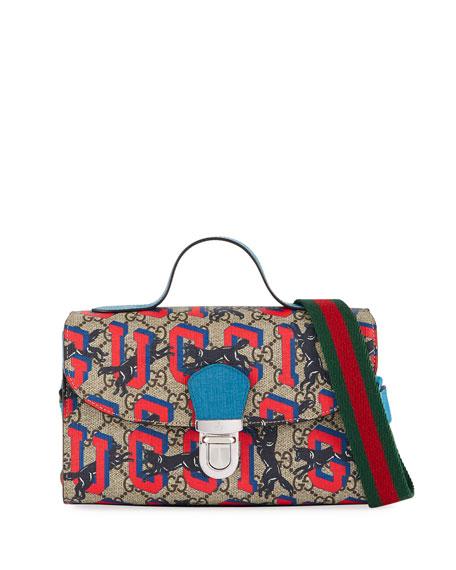 efe7c12337e4 Gucci Kids' Wolves-Print GG Supreme Top-Handle Flap Bag