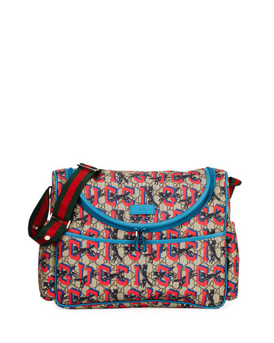 GG Supreme Wolf-Print Diaper Bag