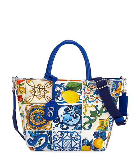 Dolce   Gabbana Canvas Maiolica-Print Shoulder Bag 6dc25d0c4fe67