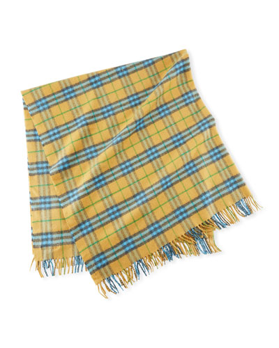 Cashmere Vintage Check Baby Blanket, Blue