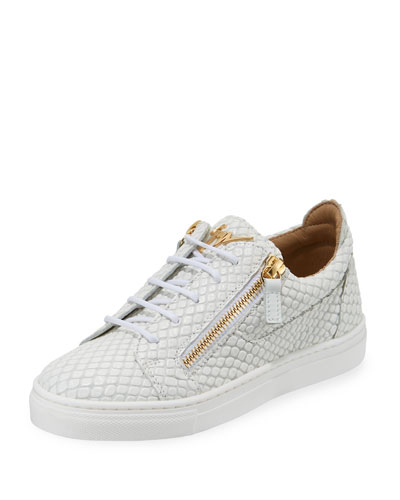 Snake-Embossed Leather Low-Top Sneakers  Toddler/Kids