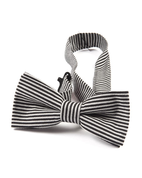 Boys' Twill Striped Bow Tie in Black