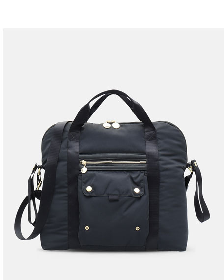 Zip-Top Diaper Bag in Black
