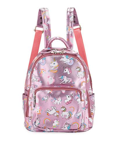 Girls' Metallic Faux-Leather Unicorn Mini Backpack
