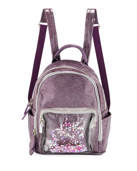Girls' Sparkle Backpack W/ Floating Confetti Front Pocket in Multi