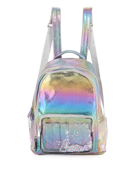 Galaxy Holographic Backpack W/ Floating Heart Confetti Pockets, Multi