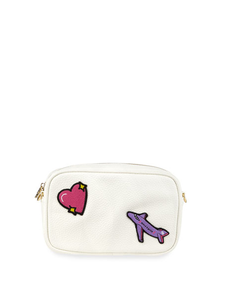 STONEY CLOVER LANE Pebbled Faux-Leather Patches Camera Bag, White