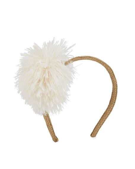PILI CARRERA Girls' Glittered Headband W/ Faux Fur Pompom in Ivory