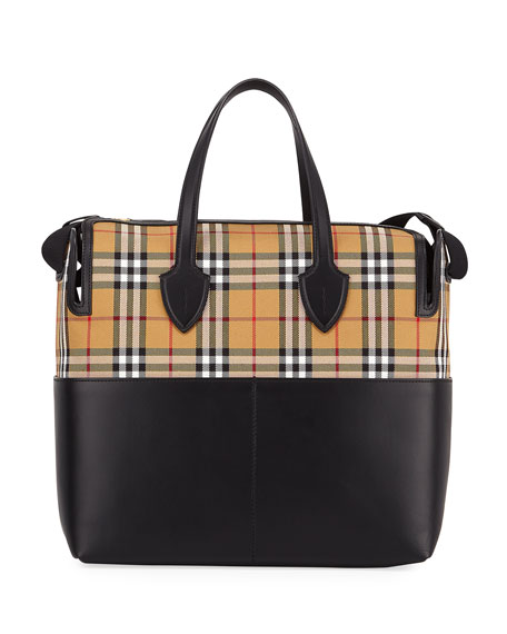 3017f3b62d Burberry Kingswood Vintage Check   Leather Diaper Bag