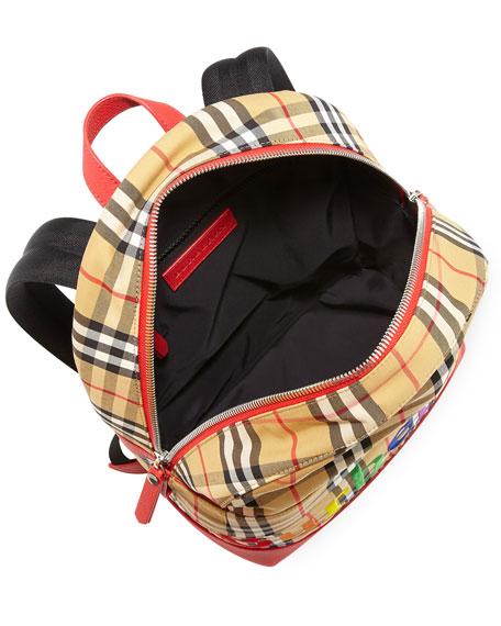 Burberry Kids Nico Check Backpack W Rainbow Logo Embroidery
