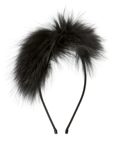 Girls' Royal Fur Headband, Black