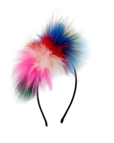 Girls' Royal Multicolored Fur Headband