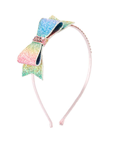 Girls' Double Glitter Bow w/ Crystal Trim