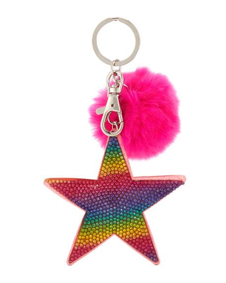 Girls' Crystal Rainbow Star Key Chain W/ Fur Pompom, Multi