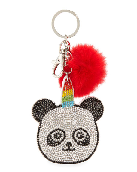 Girls' Crystal Panda Key Chain W/ Fur Pompom in Multi
