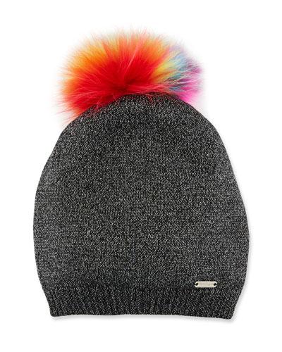 Girls' Sparkle Slouch Beanie Hat w/ Fur Pompom