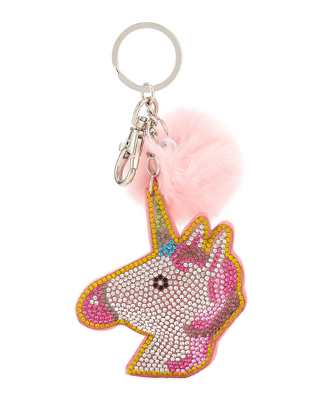 Girls' Crystal Unicorn Key Chain W/ Fur Pompom, Multi