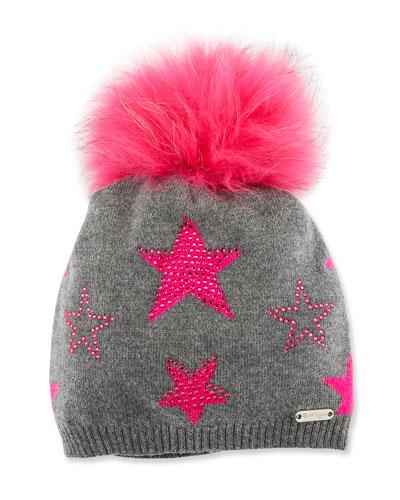 Girls' Crystal Star Studded Beanie Hat w/ Fur Pompom