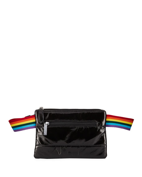 Girls' Faux-Leather Rainbow-Strap Belt Bag in Black