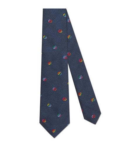 Kids' Rainbow Interlocking G Silk Tie