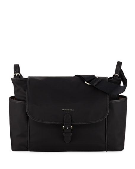 Flap-Top Canvas Diaper Bag in Black
