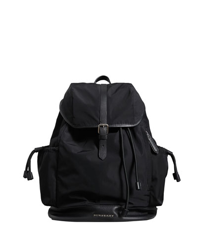 Watson Flap-Top Diaper Bag Backpack  Black