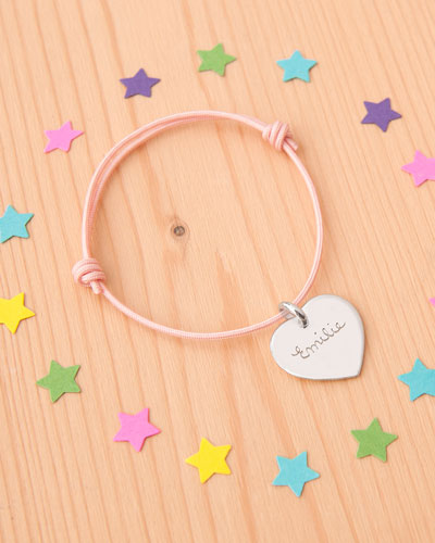 Kids' Sterling Silver Heart Charm Braid Bracelet  Dusty Pink