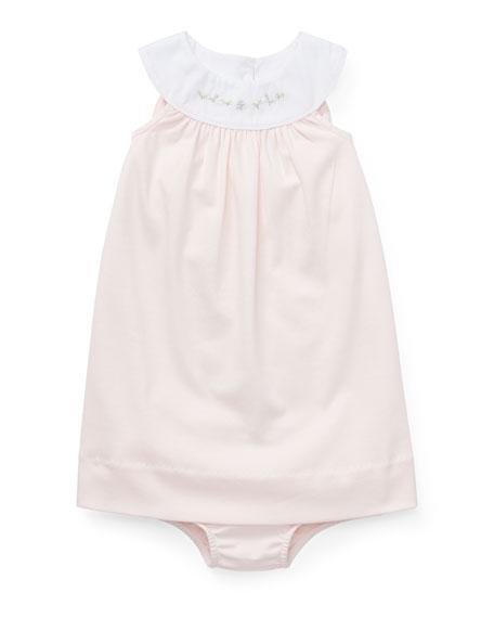 Ralph Lauren Childrenswear Interlock Embroidered Knit Dress w/