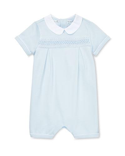 Smocked Shortall w/ Peter Pan Collar  Size 3-12 Months