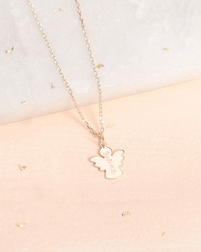 Kids' 18K Gold Plated Angel Charm Necklace