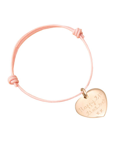 Kids' 18K Gold Heart Charm Braid Bracelet  Dusty Pink