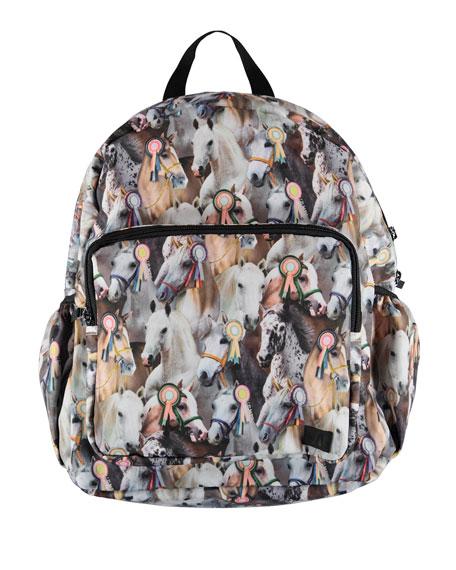 Molo Backpacks GIRLS' SHOW HORSE PRINT BIG BACKPACK