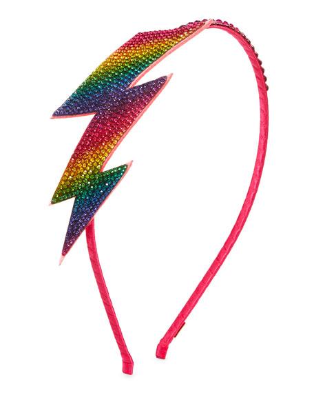 Girls' Rainbow Lightning Bolt Crystal Headband