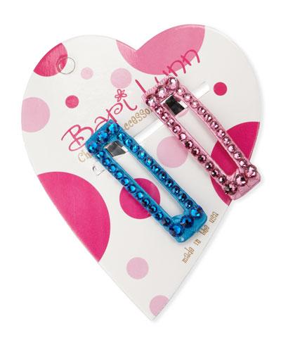 Aqua & Pink Crystal Hair Clip Set