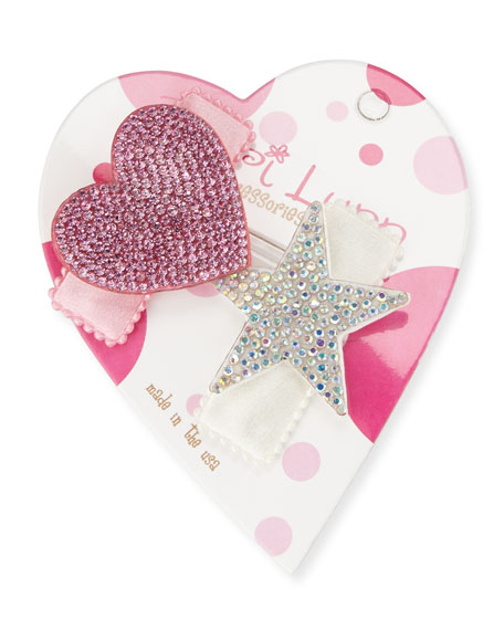 Bari Lynn Crystal & Heart Hair Clip Set