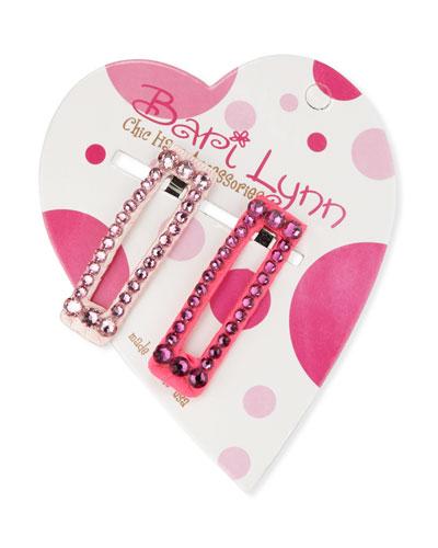 Hot Pink Crystal Hair Clip Set