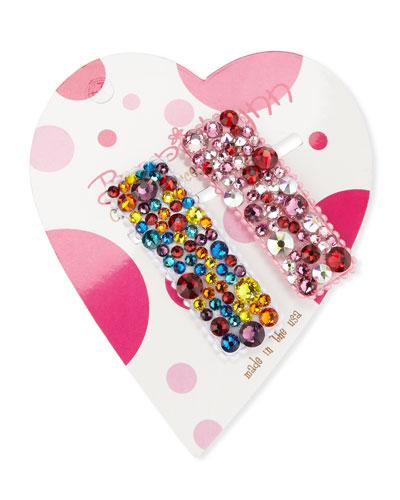 Multi Rainbow Swarovski Crystal Hair Clip Set