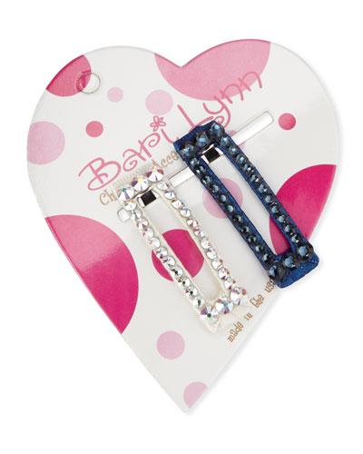 Navy & White Crystal Hair Clip Set