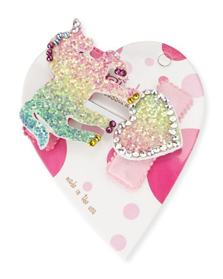 Heartuni Glitter Unicorn & Heart Hair Clip Set