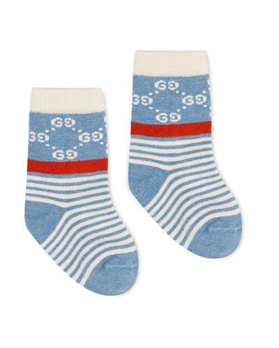 Babies' Short GG-Print Socks  Size 1-4