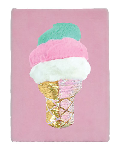 Furry Sequined Swirl Cone Journal