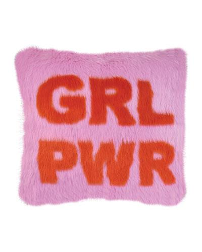 Kid's Faux Fur GRL PWR Pillow