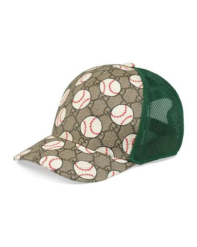 Kid's GG Supreme & Baseball-Print Trucker Hat