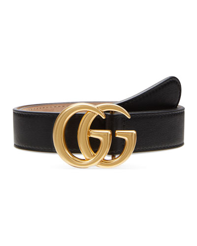 Kid's Leather Belt with GG Buckle