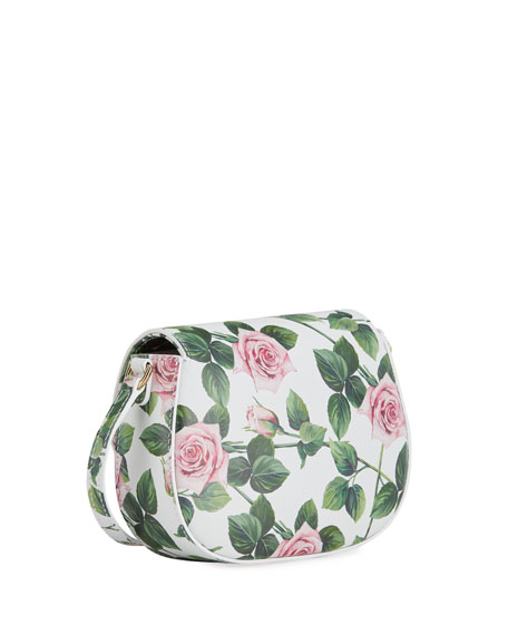 Tropical Rose Leather Crossbody Bag