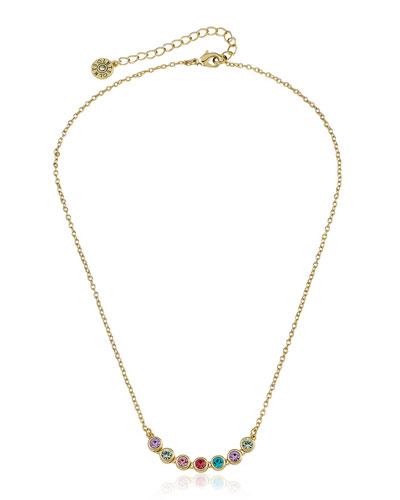 Girls' Rainbow Bezel Necklace (Hypoallergenic)